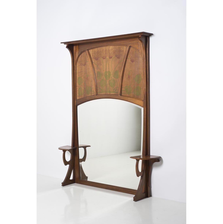 Gustave serrurier bovy 1858 1910 grand miroir acajou for Miroir acajou