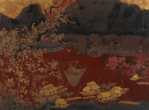 Ecole Indochinoise du XXème siècle - Paysage lacustre - Panneau de laque  - (60 x[...]