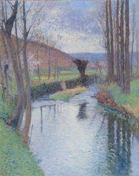 Henri MARTIN (1860-1943)  - Le saule sur le Vert  -  Huile sur toile Signée en bas[...]