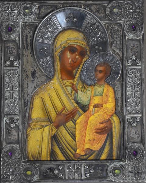 Icone Russe fin XIXème représentant - la Sainte Mère de Dieu Kazan avec sa rizza [...]