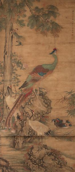 Chine  - Rouleau peint à l'encre et pigments  - Représentant un paon et des [...]