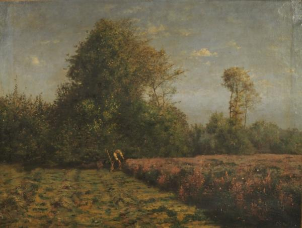 Antoine CHINTREUIL (1814-1873). La coupe des sainfoins, scène de fenaison. Huile sur[...]