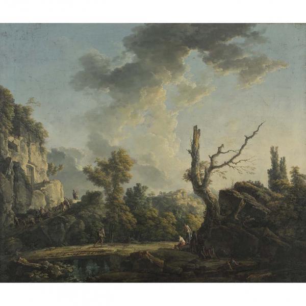 Carlo Bonavia, (Actif à naples entre 1740 et 1788), Paysage avec un aqueduc et une[...]