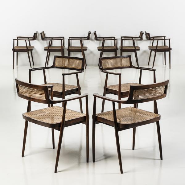 ƒ Joaquim Tenreiro (1906-1992), Ensemble de dix chaises Cadeira com braços;, Table[...]