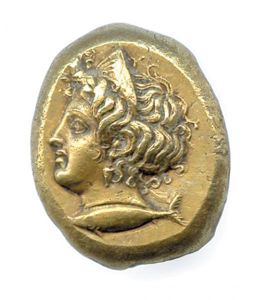 MYSIE - CYZIQUE 550-500 Tête diadémée de la nymphe Aphrodite, le diadème orné[...]