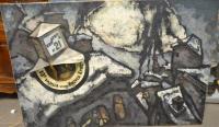Tableau russe signé et daté de 1967. - Huile sur toile et lampe...
