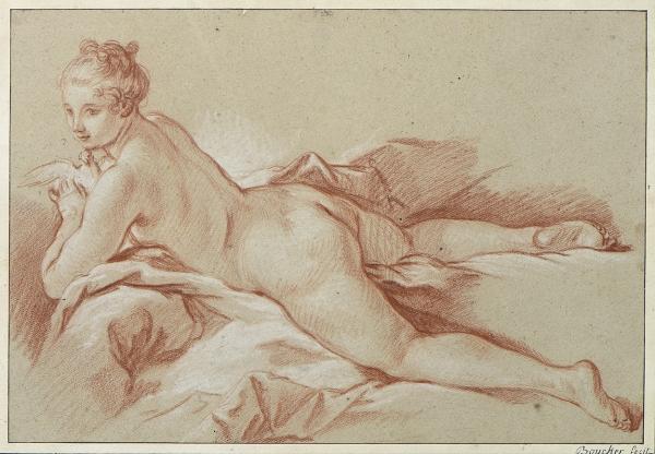 François BOUCHER (1703-1770)  - Venus à la colombe, vers 1740-1745  - Sanguine et[...]