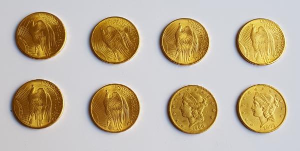 8 pièces de 20 dollars or dont 6 type Saint Gaudens (1900-1908-1928) et 2 type [...]