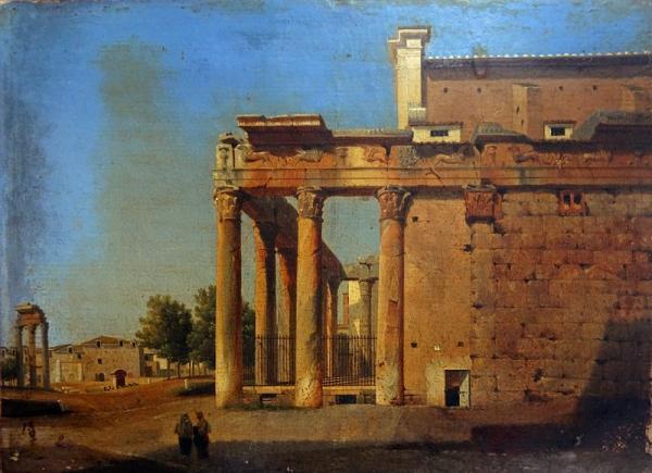 École Française vers 1820  - Rome, vue du Campo Vaccino  - Papier marouflé sur[...]
