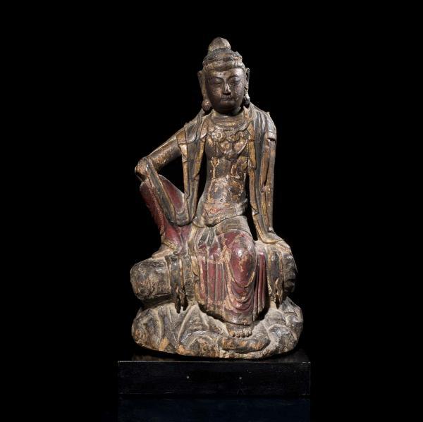 CHINE - Fin Époque YUAN (1279 - 1368)  - Statuette de Guanyin en bois à traces de[...]
