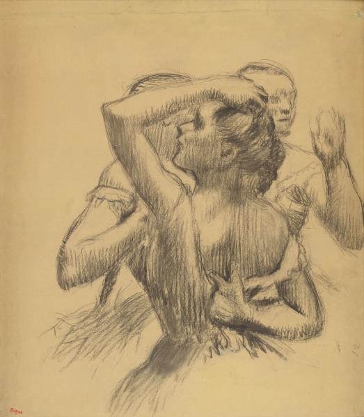 Edgar DEGAS, 1834-1917   - Trois danseuses en buste, circa 1898  -  Dessin au fusain[...]