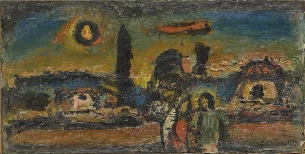 Georges ROUAULT (1871-1958)  - Crépuscule, vers 1949  - Huile  sur panneau de bois [...]