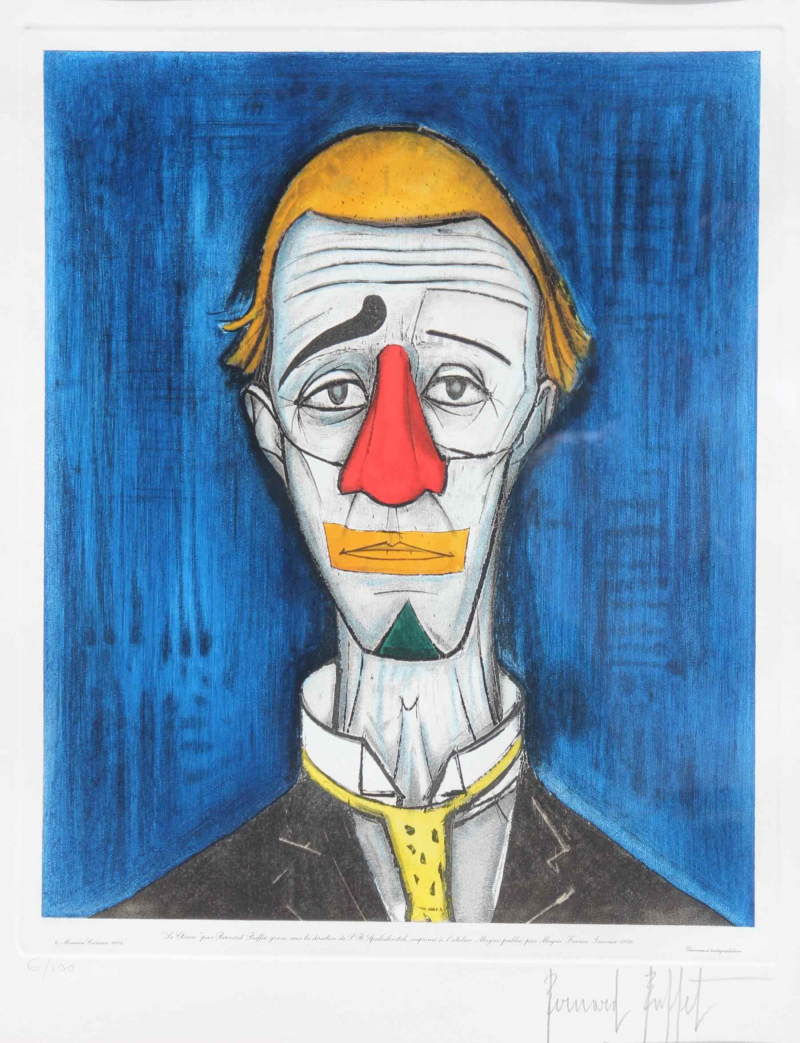 Bernard buffet 1928 1999 le clown grav sous la for Bernard buffet vente