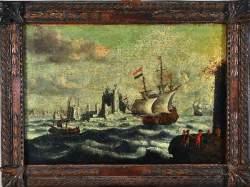 Ecole Hollandaise XVIIe siècle - «Navires devant un rivage»