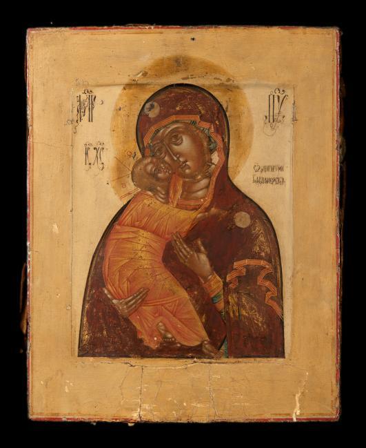 LA VIERGE DE VLADIMIR  Russie, XVIIIe siècle. Tempera sur bois, restaurations et[...]