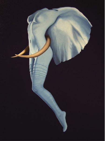"""Anis Dargaa """"  - L'envole de la femme éléphant""""  - Huile sur toile de lin,[...]"""